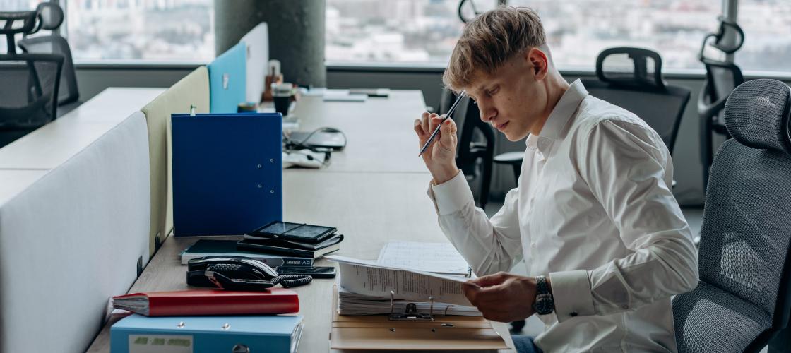 Boy working in office